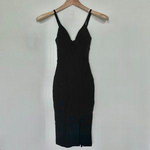 Spaghetti-Strap Plunge Deep Vneck LBD Dress w Slit
